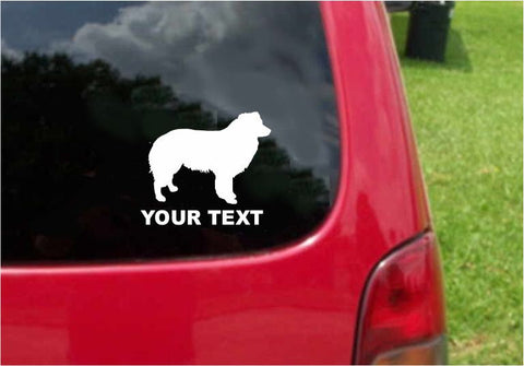 Border Collie Dog Sticker Decal with custom text 20 Colors To Choose From.