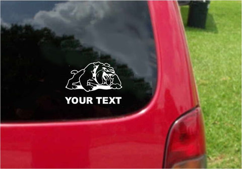 Bulldog Dog Sticker Decal with custom text 20 Colors To Choose From.