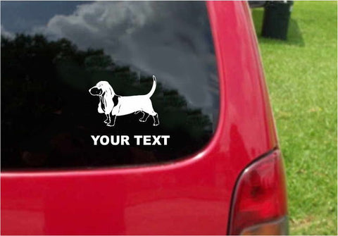 BasHound Dog Sticker Decal with custom text 20 Colors To Choose From.
