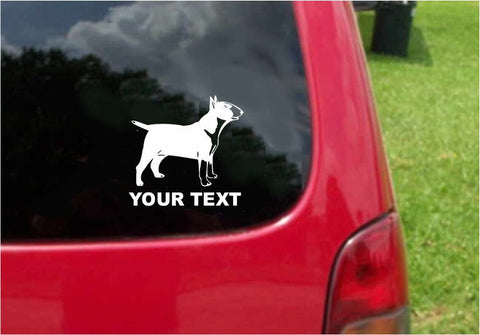 Bull Terrier Dog Sticker Decal with custom text 20 Colors To Choose From.
