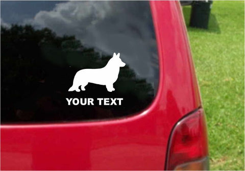 Cardigan Welsh Corgi Dog Sticker Decal with custom text 20 Colors To Choose From.