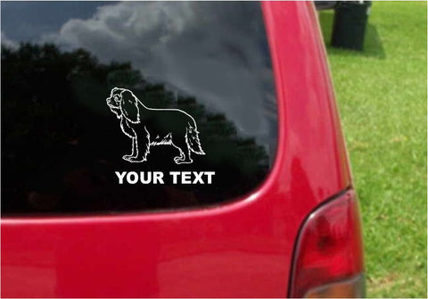 Cavalier King Charles Spaniel Dog Sticker Decal with custom text 20 Colors To Choose From.