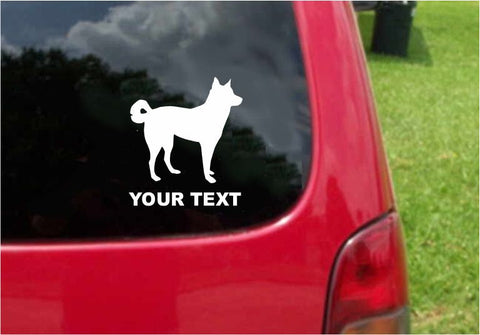 Canaan Dog Sticker Decal with custom text 20 Colors To Choose From.