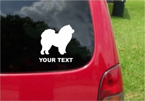 Chow Chow Dog Sticker Decal with custom text 20 Colors To Choose From.