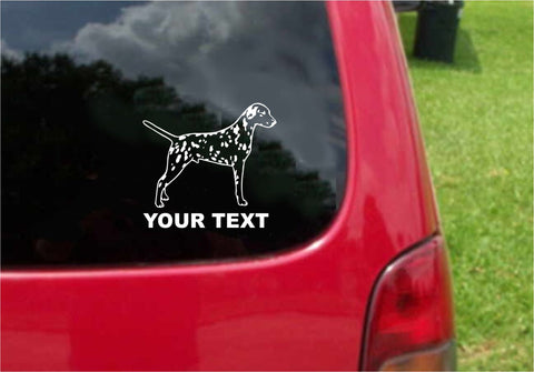 Dalmatian Dog Sticker Decal with custom text 20 Colors To Choose From.