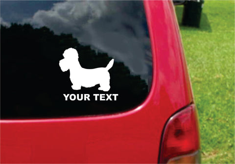 Dandie Dinmont Terrier Dog Sticker Decal with custom text 20 Colors To Choose From.