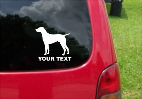 German Shorthaired Pointer Dog Sticker Decal with custom text 20 Colors To Choose From.