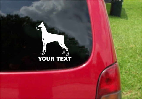 Doberman Pinscher Dog Sticker Decal with custom text 20 Colors To Choose From.
