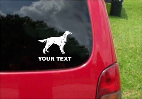 Gordon Setter Dog Sticker Decal with custom text 20 Colors To Choose From.