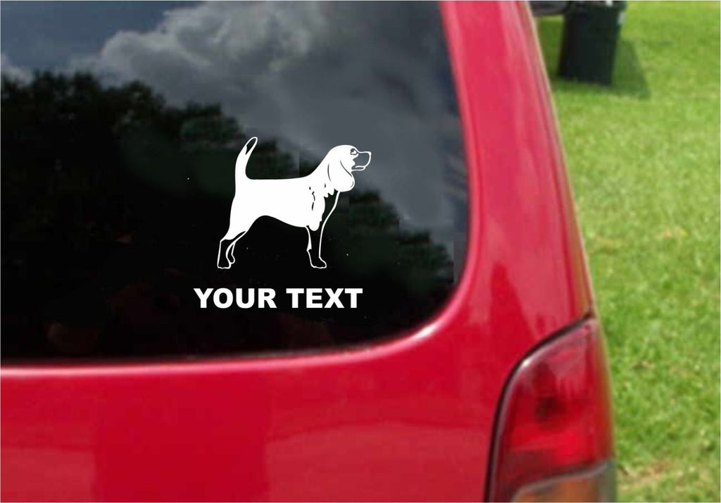Beagle Dog Sticker Decal with custom text 20 Colors To Choose From.
