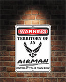 Warning Territory Of an AIRMAN 9 x 12 Predrilled Aluminum Sign