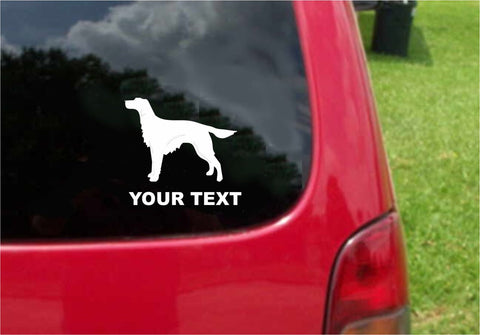 Irish Setter Dog Sticker Decal with custom text 20 Colors To Choose From.