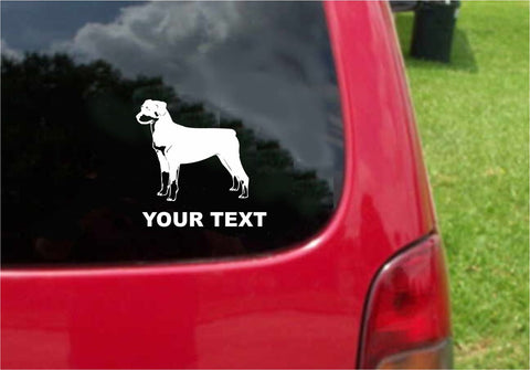 Rottweiler Dog Sticker Decal with custom text 20 Colors To Choose From.