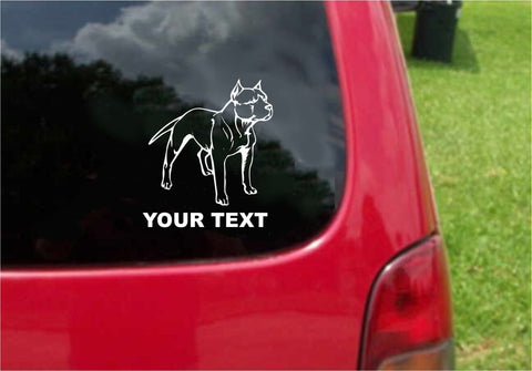 Pitbull Dog Sticker Decal with custom text 20 Colors To Choose From.