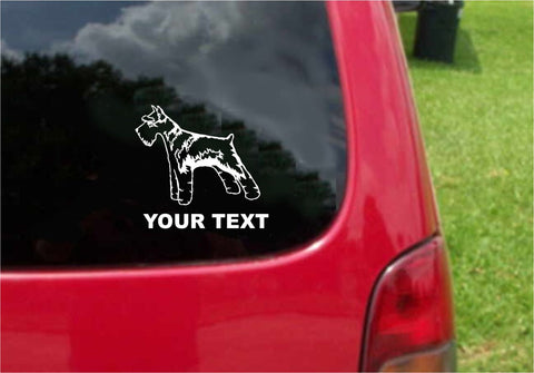 Schnauzer Dog Sticker Decal with custom text 20 Colors To Choose From.