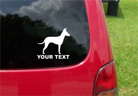 Manchester Terrier Dog Sticker Decal with custom text 20 Colors To Choose From.