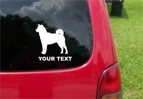 Shiba Inu Dog Sticker Decal with custom text 20 Colors To Choose From.