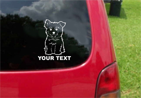 Yorkshire Terrier Dog Sticker Decal with custom text 20 Colors To Choose From.