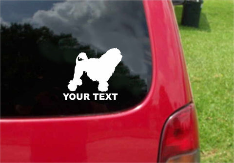 Lowchen Dog Sticker Decal with custom text 20 Colors To Choose From.