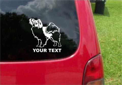 Papillon Dog Sticker Decal with custom text 20 Colors To Choose From.