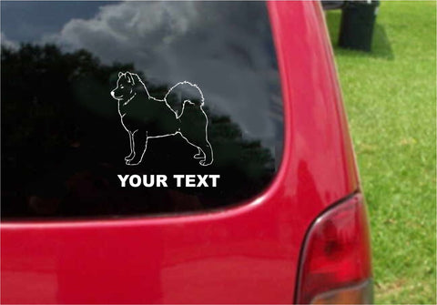 Samoyed Dog Sticker Decal with custom text 20 Colors To Choose From.