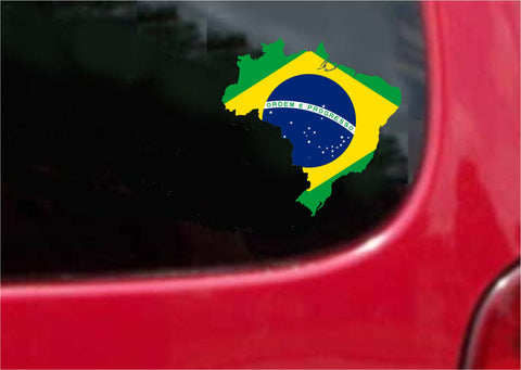 Brazil Outline Map Flag Vinyl Decal Sticker Full Color/Weather Proof.