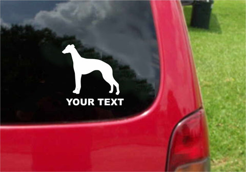 Whippet Dog Sticker Decal with custom text 20 Colors To Choose From.