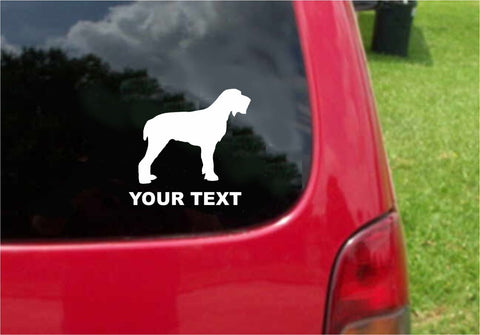 Spinone Italiano Dog Sticker Decal with custom text 20 Colors To Choose From.