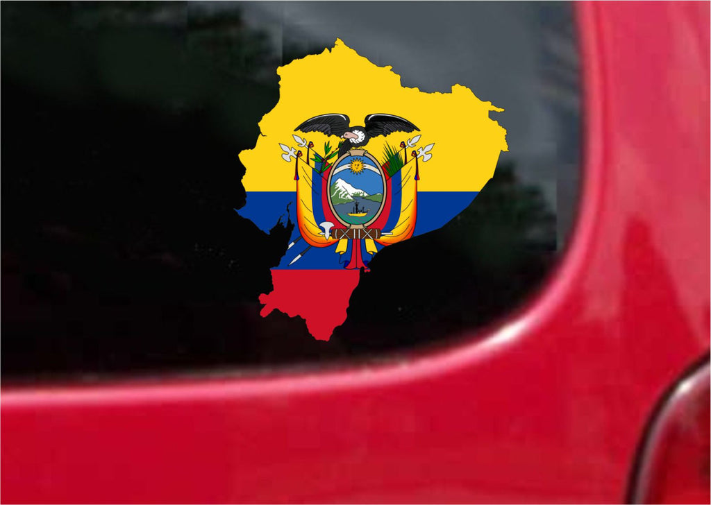 Ecuador Outline Map Flag Vinyl Decal Sticker Full Color/Weather Proof.