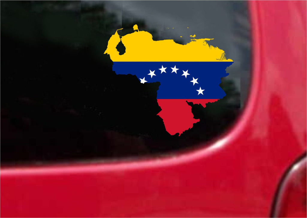 Venezuela Outline Map Flag Decal Sticker Full Color/Weather Proof.
