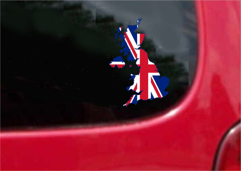 United Kingdom  Outline Map Flag Vinyl Decal Sticker Full Color/Weather Proof.