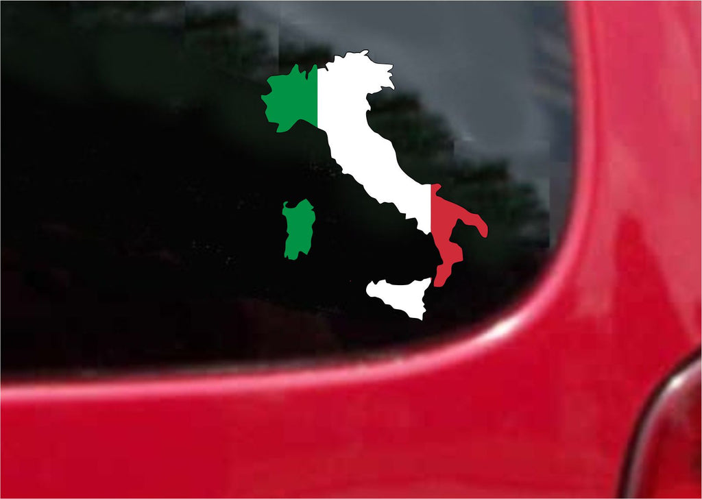 Italy  Outline Map Flag Vinyl Decal Sticker Full Color/Weather Proof.