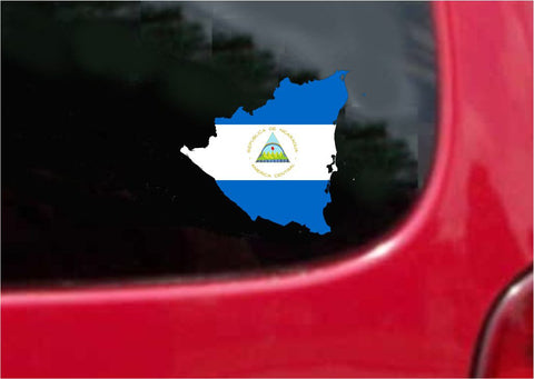 Nicaragua Outline Map Flag Vinyl Decal Sticker Full Color/Weather Proof.