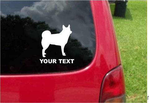 Norwegian Lundehund  Dog Sticker Decal with custom text 20 Colors To Choose From.