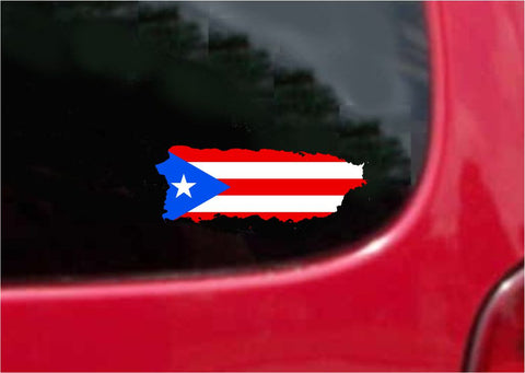 Puerto Rico  Outline Map Flag Vinyl Decal Sticker Full Color/Weather Proof.