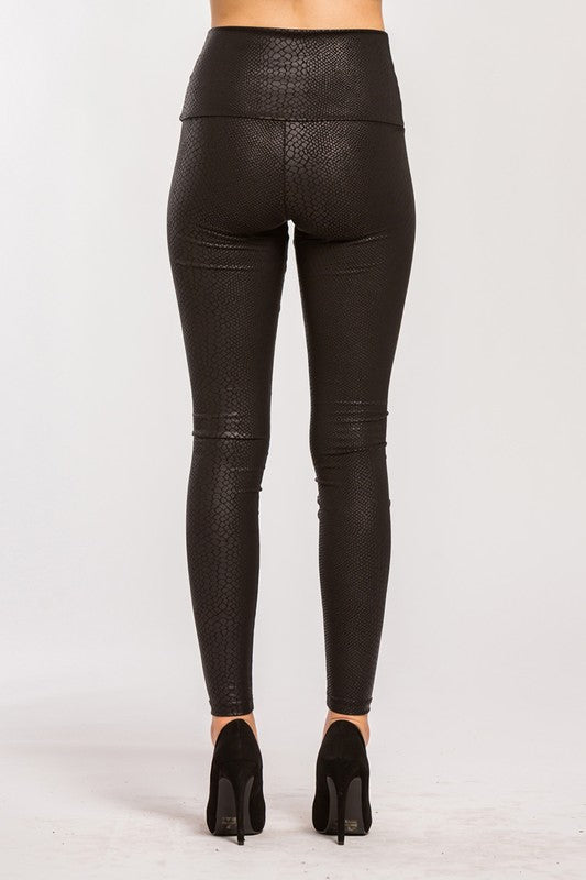Snakeskin Faux Leather Leggings