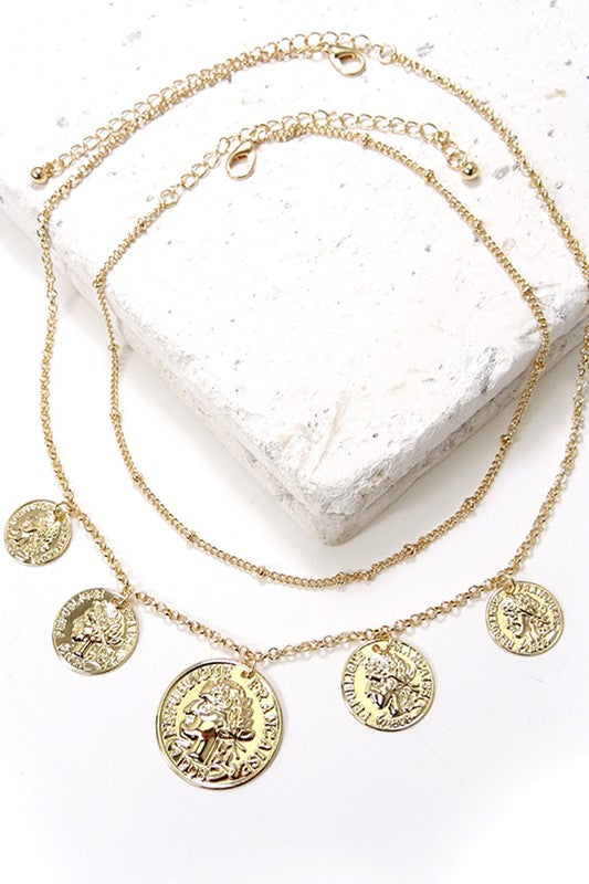 St. Lucia Layered Coin Necklace