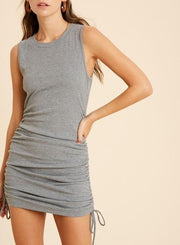 Meg Ribbed Shirred Tie Dress - Gray