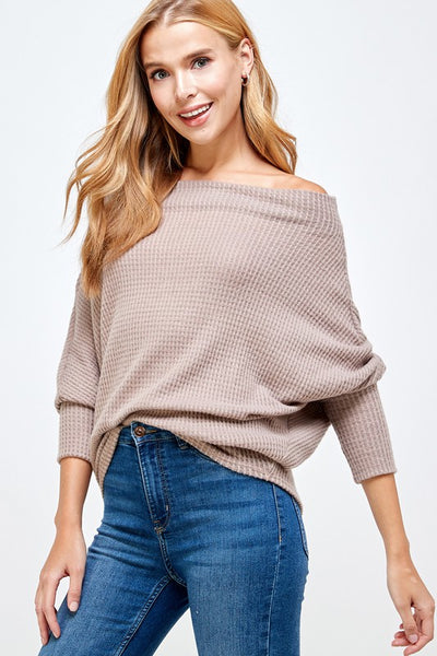 Verbana Off Shoulder Dolman Knit - Taupe