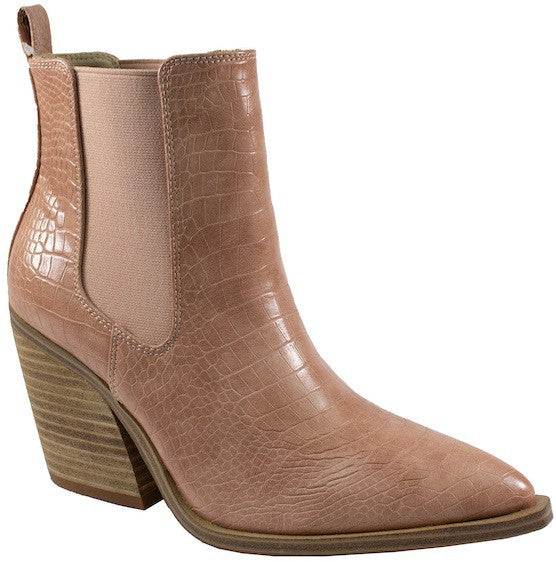 Stevie Booties - Blush/Taupe Croco