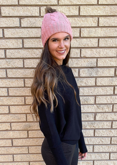 City Stroll Pink Knit Beanie