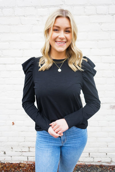 Valentina Ruffle Top - Black