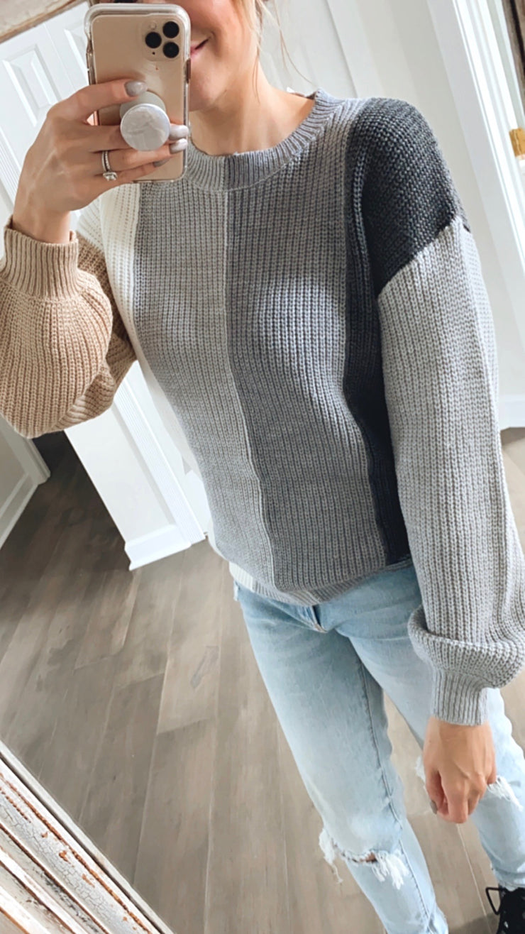 Joy Vertical Color Block Sweater
