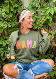 Cozy Olive Green MAMA Crew Neck