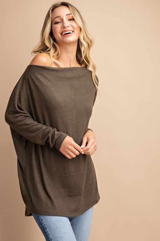 Fall Leaves Dolman Sleeve Knit - Olive