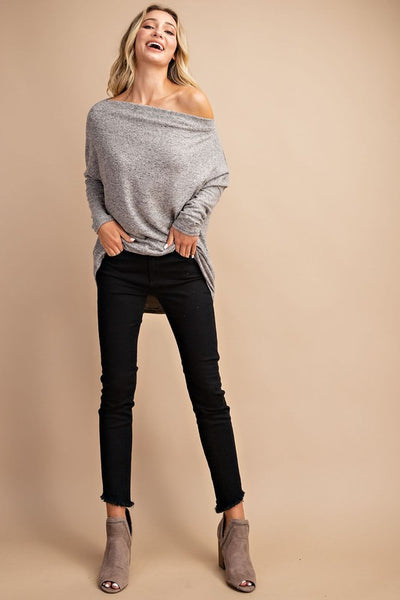 Fall Leaves Dolman Sleeve Knit - Gray