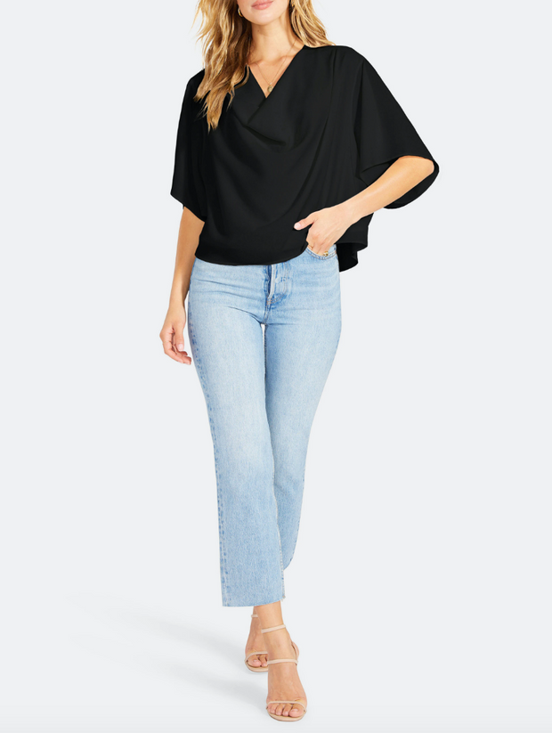 Return To Me Cowl Neck Top - Black