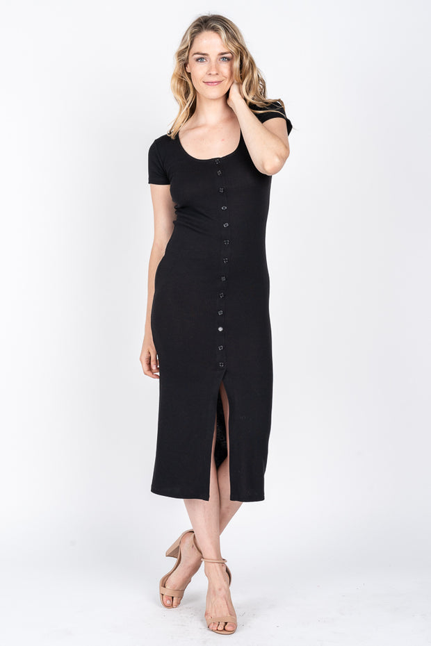 Marren Ribbed Maxi Dress - Black
