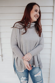 Grey Skies Cowl Neck Relaxed Sweater - Gray