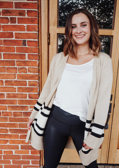 Adore You Striped Cardigan - Cream